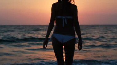Silhouette of a girl in the water at sunset. — Stock Video