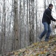 Father and son playing in the woods — Stock Video