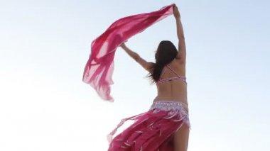 Menina bonita, segurando o pano-de-rosa no vento com o fundo do céu — Vídeo Stock
