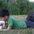 Boy reads book outdoors — Stock Video