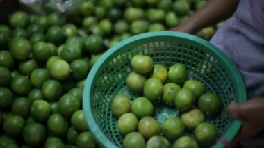 Lime, fruit market — Stock Video
