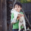 Royalty-Free Stock Photo: Boy with little goat