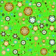Flowers and leaves retro pattern on the green background — Stock Vector #12041542