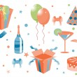 Funny birthday icons — Stock vektor