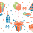 Stock Vector: Funny birthday icons