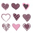 Stock Vector: Hearts icon set