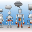 Stock Vector: Robots family