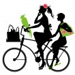 Stock Vector: Two beautiful womans riding a bicycle