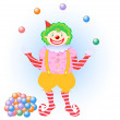 Juggling clown — Stock Vector