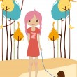 Royalty-Free Stock Vector Image: Little young girl walking with the dog