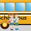 Boy and girl standing near the school bus - Stock Vector