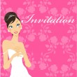 Wedding invitation with preety bride — Stock Vector