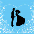 Bride and groom on the elegant background — Image vectorielle