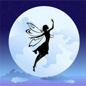 Flying fairy silhouette in night — Stock Vector