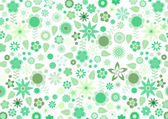 Green funky flowers and leaves retro pattern — Stock Vector