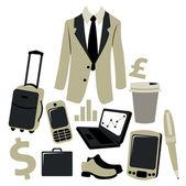 Conjunto de acessórios de homem bussiness — Vetor de Stock