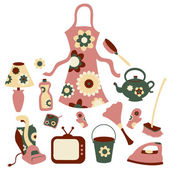 Housewife accessories icon set — Stock Vector