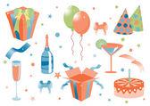 Funny birthday icons — Stock Vector