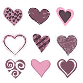 Hearts icon set — Stock Vector