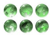 Iconos de globo verde — Vector de stock