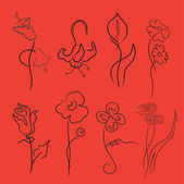 Flowers Design Set — Stock Vector