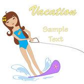 Attractive girl water skiing — Stock Vector