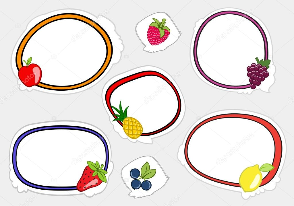 Vector illustration of cute retro frames on stickers style with funny fruits  — Stock Vector #12040305