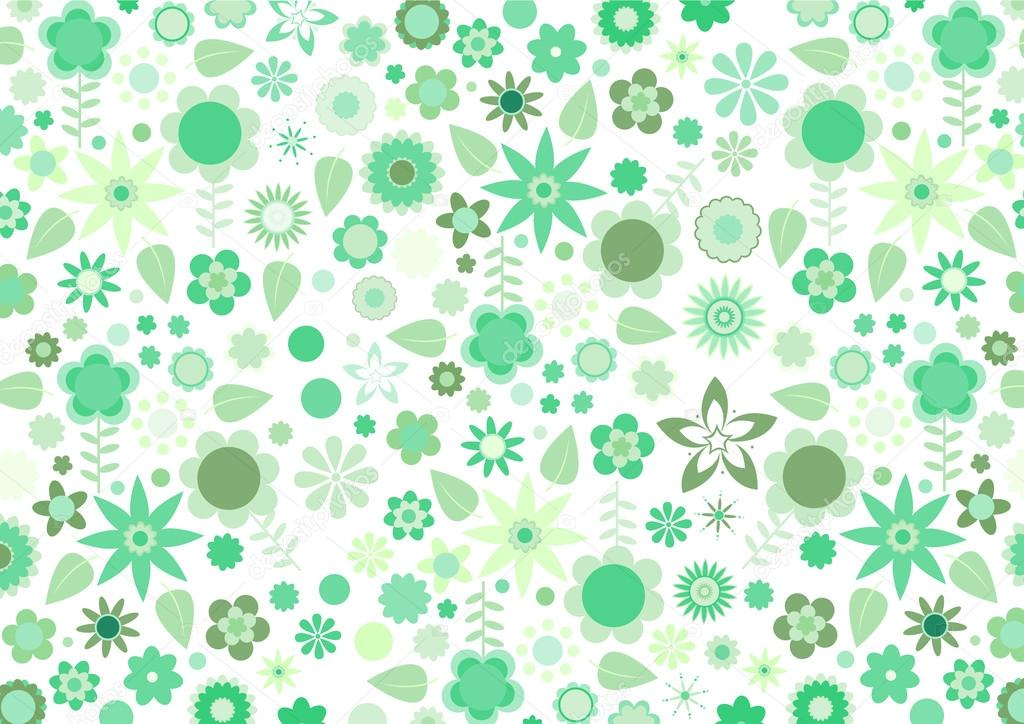 Vector illustration of green funky flowers and leaves retro pattern on white background — Stock Vector #12040409