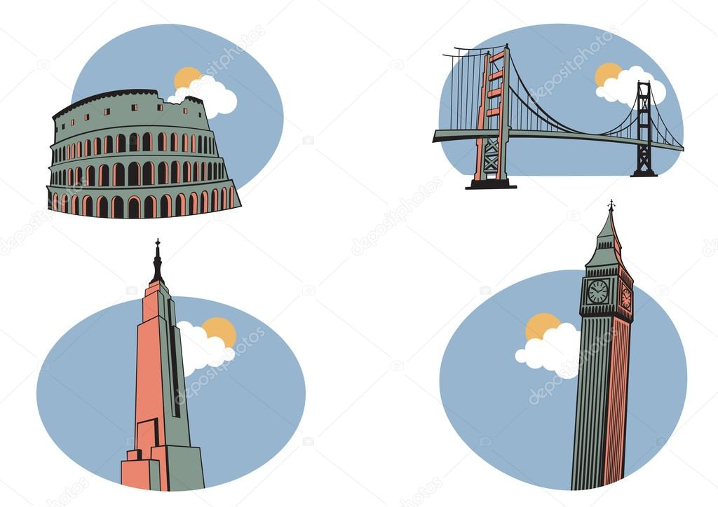 Vector illustration of All Over the World Travel. Includes the icons of Coliseum, Golden Gate, Big Ben and Empire State Building . — Stock Vector #12040489