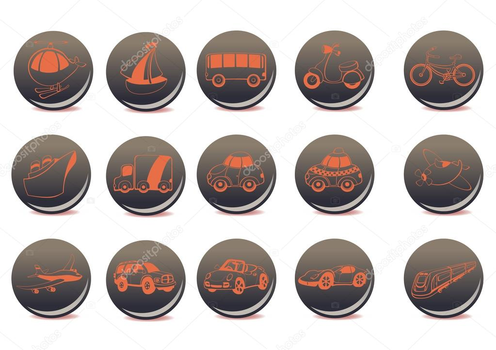 Vector illustration of the red transportation icons on the grey buttons — Stock Vector #12040521