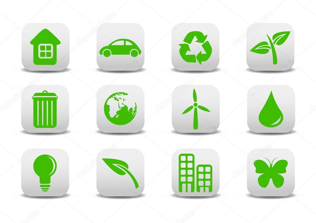 Vector illustration of ecological icons .You can use it for your website, application or presentation — Stock Vector #12040547
