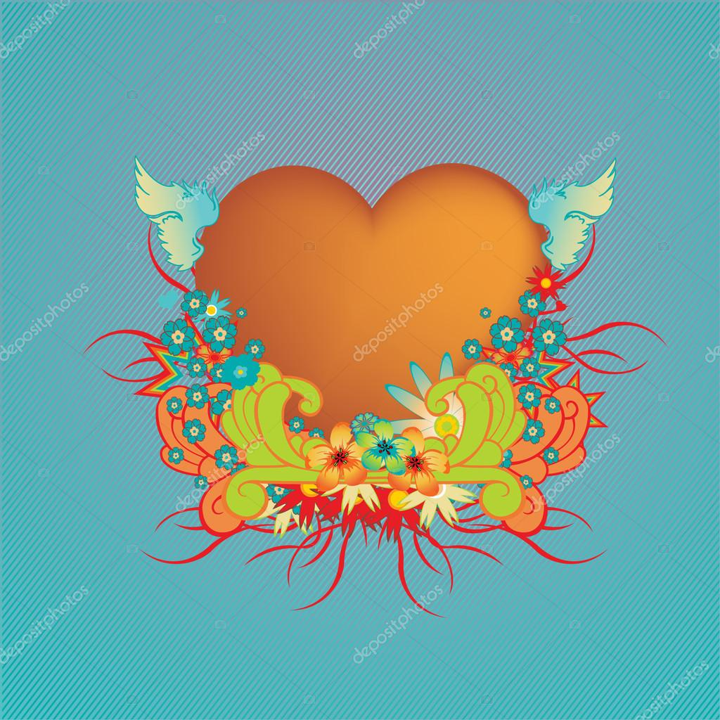 Vector illustraition of elegant floral frame with heart shape  — Stock Vector #12041927