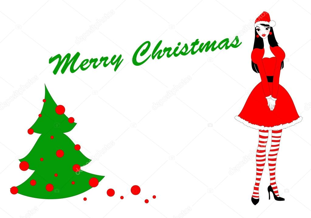 Vector Illustration of funky Christmas gteeeting card with beautiful sexy girl in a santa clause costume — Stock Vector #12042270