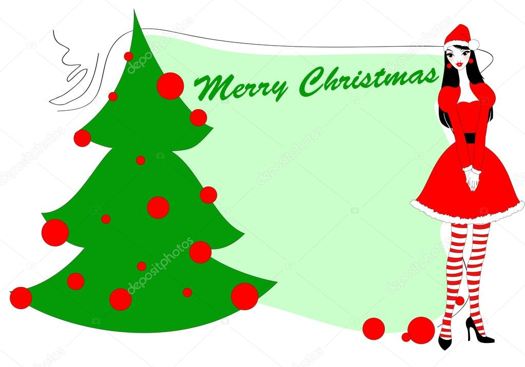 Vector Illustration of funky Christmas gteeeting card with beautiful sexy girl  Grafika wektorowa #12042431