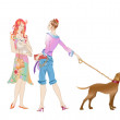 Two girls with the dogs — Stock Vector #12222089