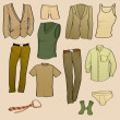 Stock Vector: Men clothes icons