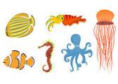 Iconos de animales graciosos mar — Vector de stock