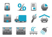 Real estate and moving icons se — Vettoriale Stock
