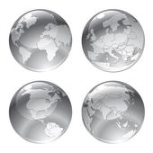 Gray globe icons — Stock Vector