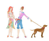 Two girls with the dogs — Stock Vector