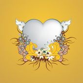 Cadre floral avec forme de coeur — Vecteur