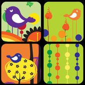 Style design greeting cards with retro-style birds and trees — Stock Vector