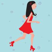 Girl riding roller skates — Stock Vector