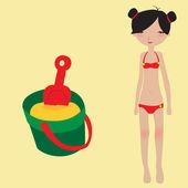Klein meisje en zand speelgoed — Stockvector