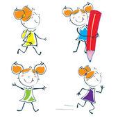 Little schoolgirl — Stock Vector