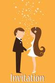 Funky wedding invitation — Stock Vector