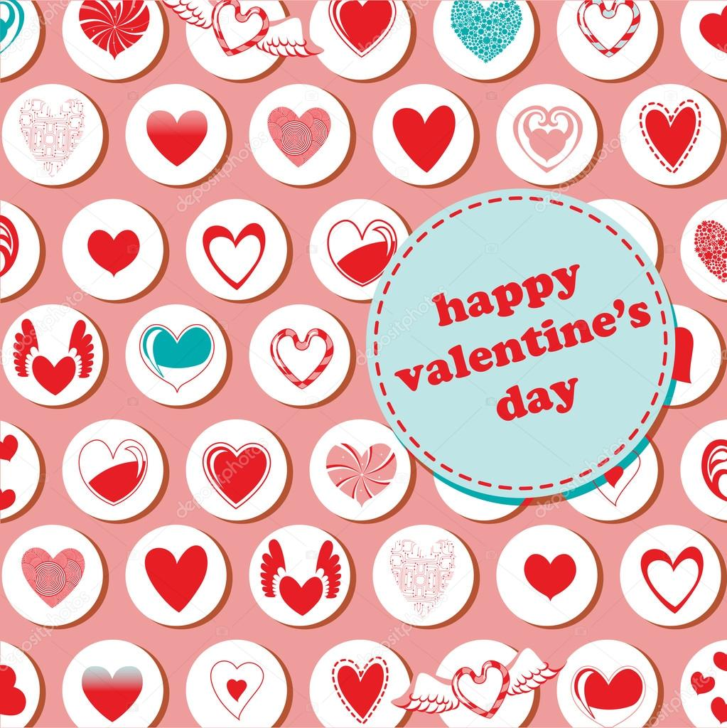 Vector illustration of Valentine's Day pattern, decorated with different kinds of heart. — Stock Vector #12221860