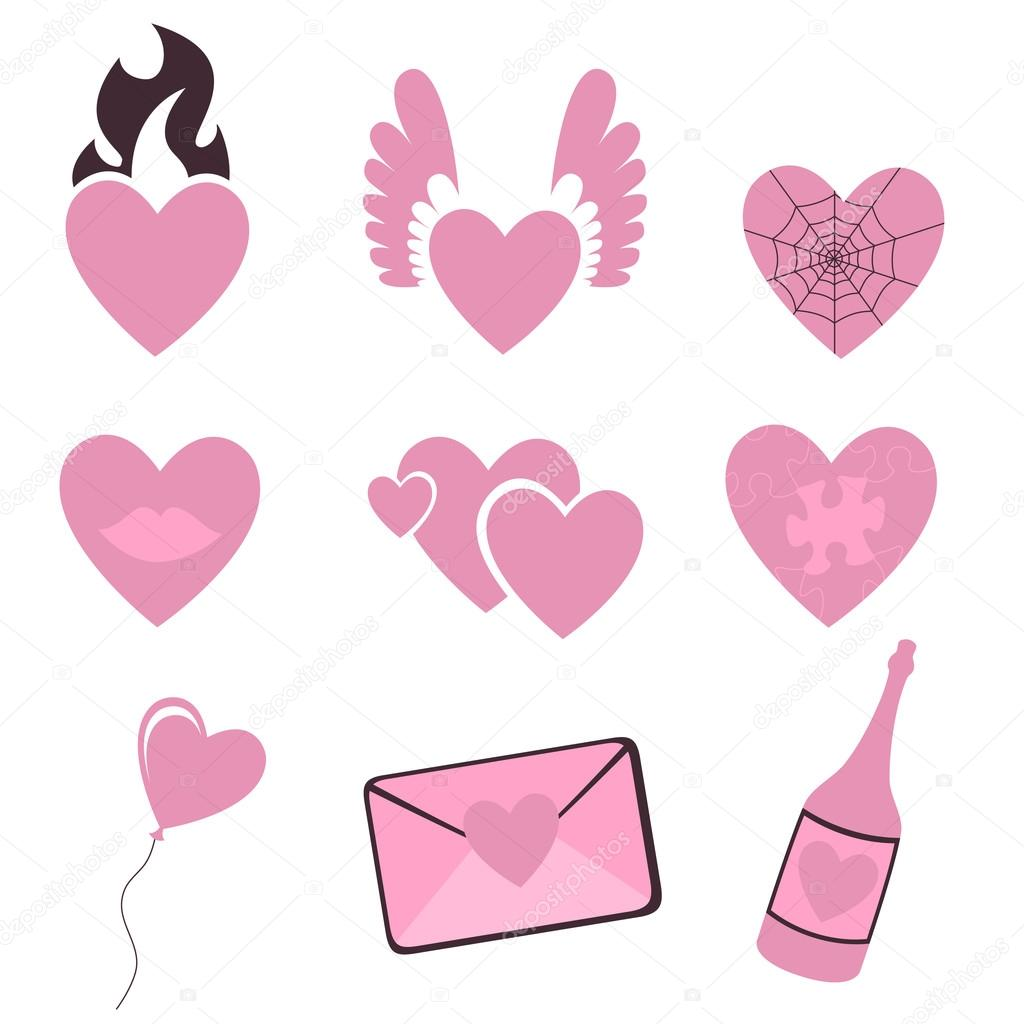 Vector illustration of Love icons.  Ideal for Valetine Cards decoration — Vektorgrafik #12221861