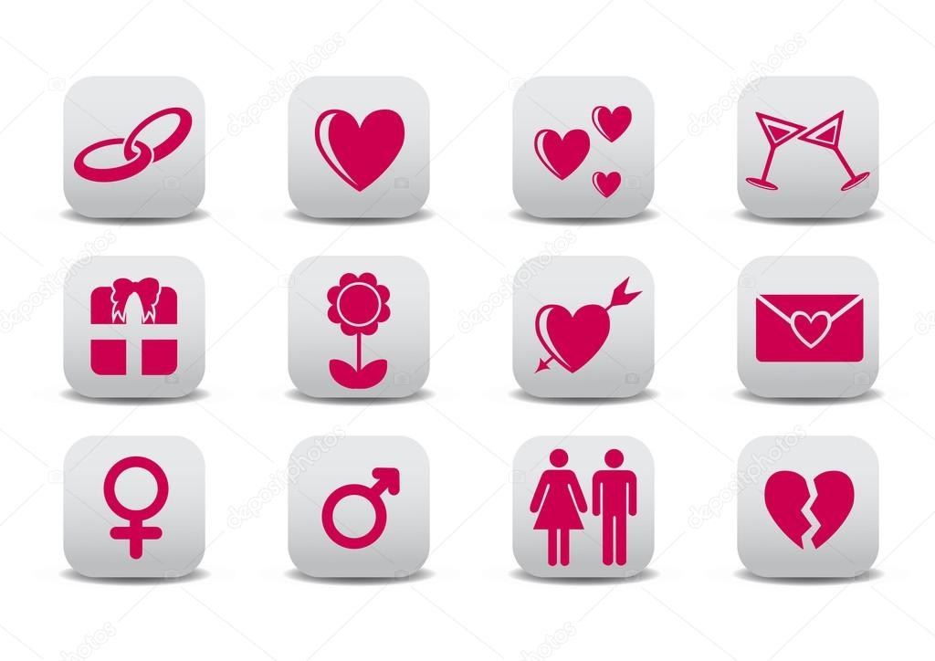 Vector illustration of Love icons.  Ideal for Valetine Cards decoration — Stock Vector #12221868