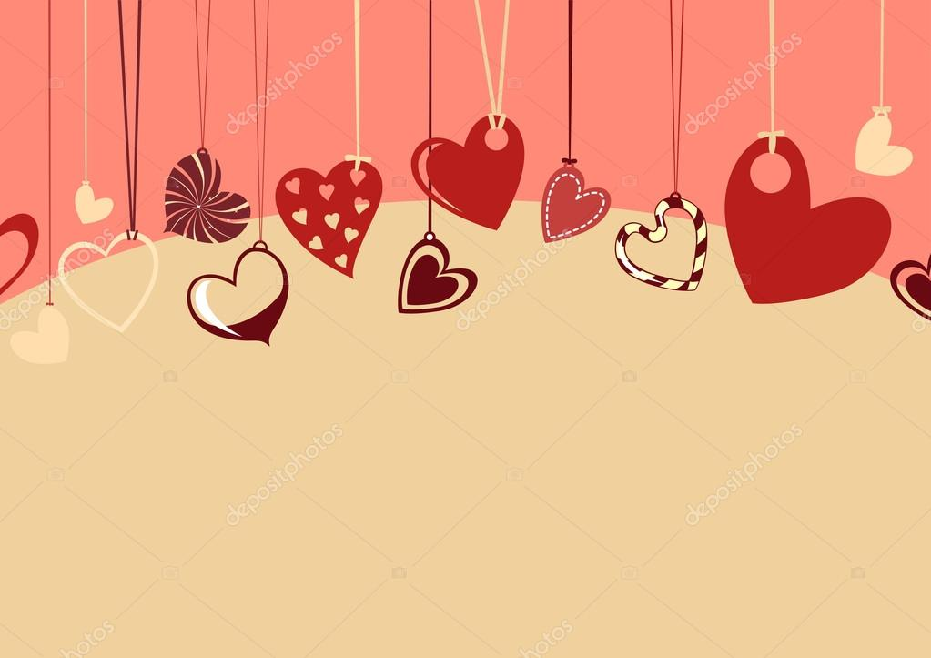 Vector illustration of Valentine's Day background, decorated with beautifull hearts. — Vettoriali Stock  #12221878